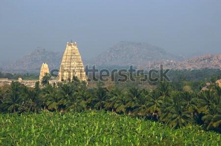 Virupaksha Temple among mountains and palm plantations on sunrise Stock photo © jet