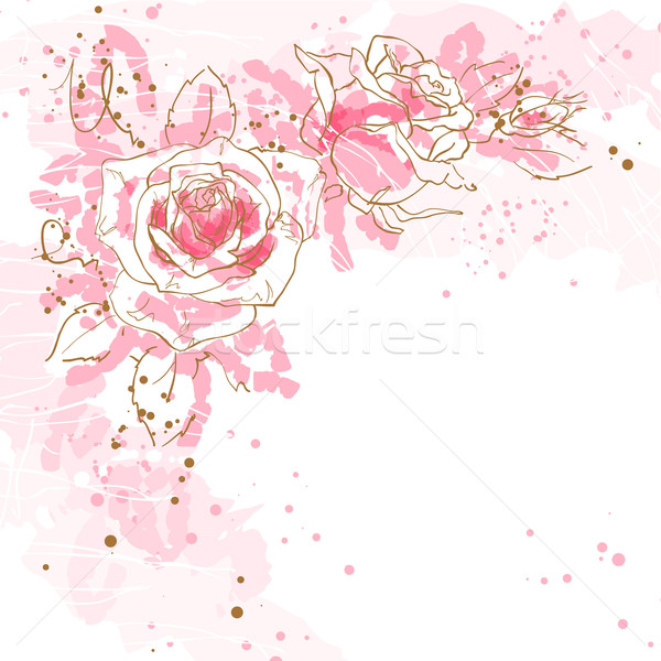 Romantische vector rozen abstract drie roze Stockfoto © jet