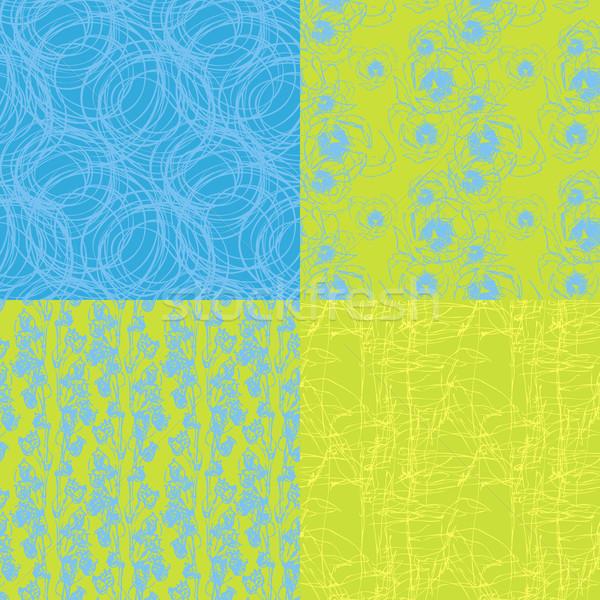 Négy végtelenített természetes textúra zöld kék Stock fotó © jet
