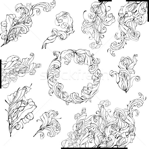 Feketefehér vektor dizájnok alkotóelem szett divat Stock fotó © jet