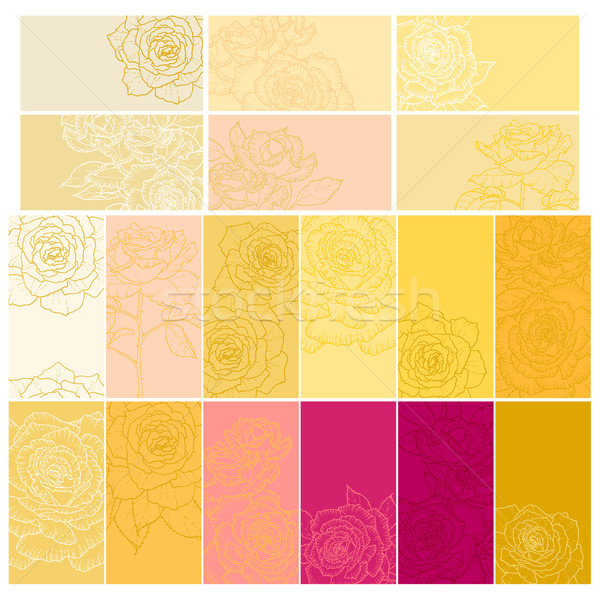 Collection of floral backgrounds with roses Stock photo © jet