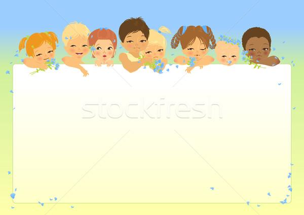 Frame acht kinderen verschillend leeftijd kijken Stockfoto © jet