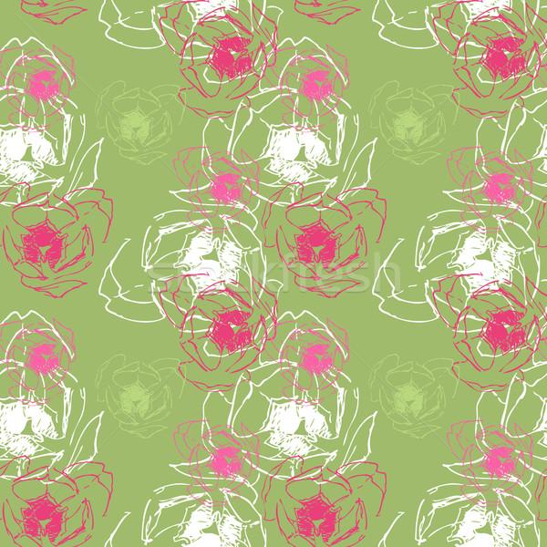 Stockfoto: Groene · naadloos · textuur · tulpen · voorjaar · achtergrond