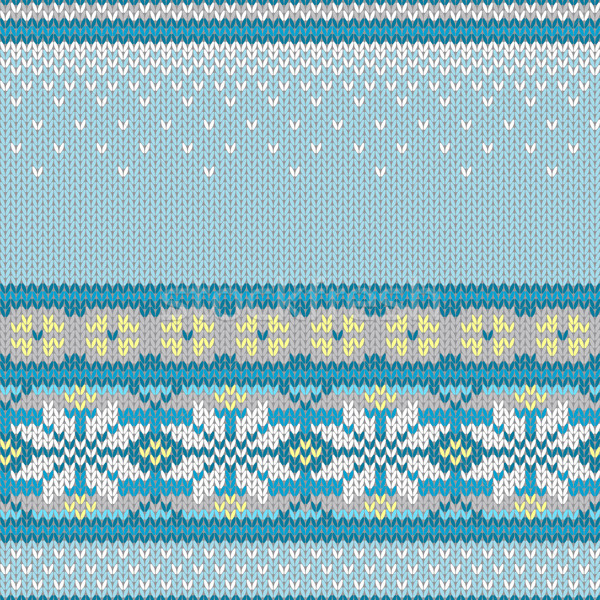 Vektor végtelenített kötött minta hópelyhek utánzás Stock fotó © jet