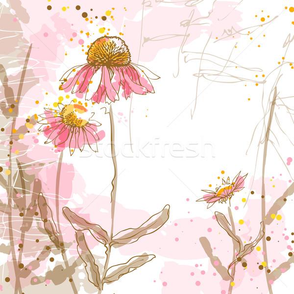 Romantikus vektor absztrakt három virág tavasz Stock fotó © jet
