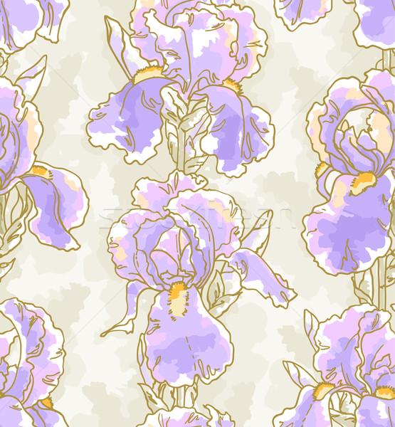 Végtelen minta írisz végtelenített virágmintás minta textúra Stock fotó © jet
