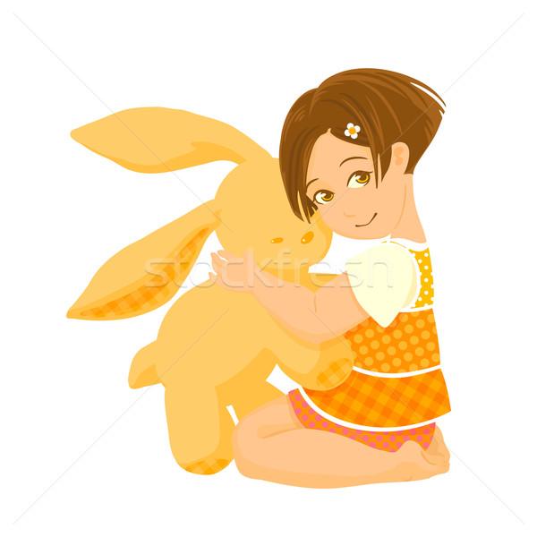 Küçük kız büyük tavşan oyuncak örnek Stok fotoğraf © jet