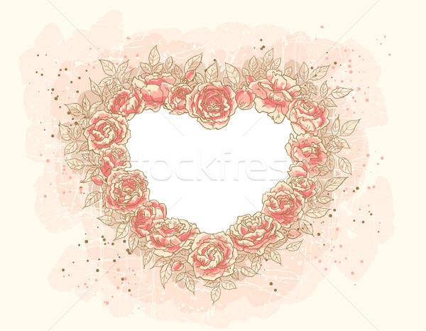 Romantikus rózsák keret űrlap szív virágok Stock fotó © jet