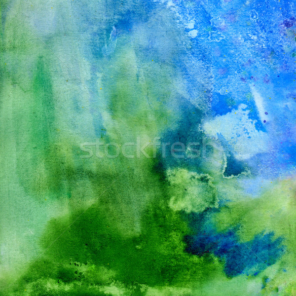 Gras hemel abstract aquarel groene Blauw Stockfoto © jet
