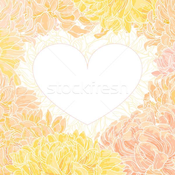 Romantik vektör krizantem kalp biçim çerçeve Stok fotoğraf © jet