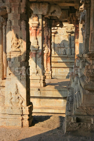 Some beautiful pillar of the Krishna temple in Hampi Stock photo © jet