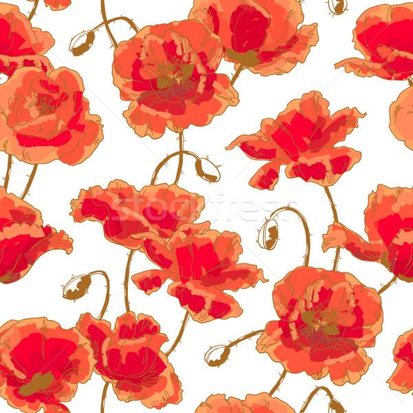 Végtelen minta pipacs végtelenített virágmintás minta virág Stock fotó © jet