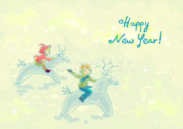 Tél játékok vidám fiú lány boldog gyermek Stock fotó © jet