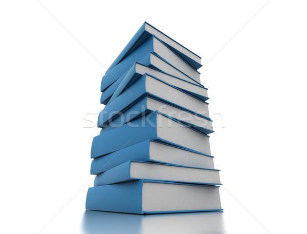 Boeken Blauw geïsoleerd witte papier Stockfoto © jezper