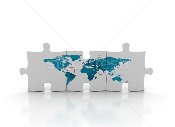 ストックフォト: 世界地図 · パズル · 世界 · 印刷 · パズルのピース · テクスチャ