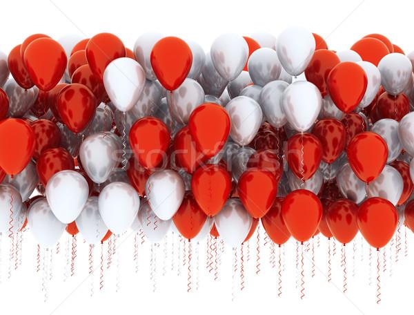 Léggömbök ünneplés piros fehér narancs csoport Stock fotó © jezper