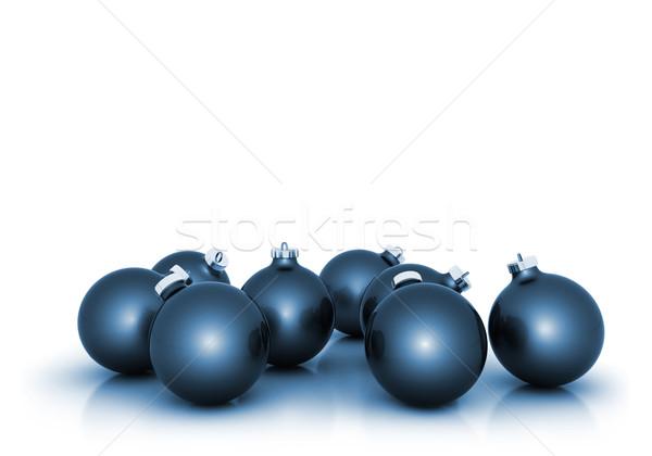 Sok kék karácsony golyók fehér copy space Stock fotó © jezper