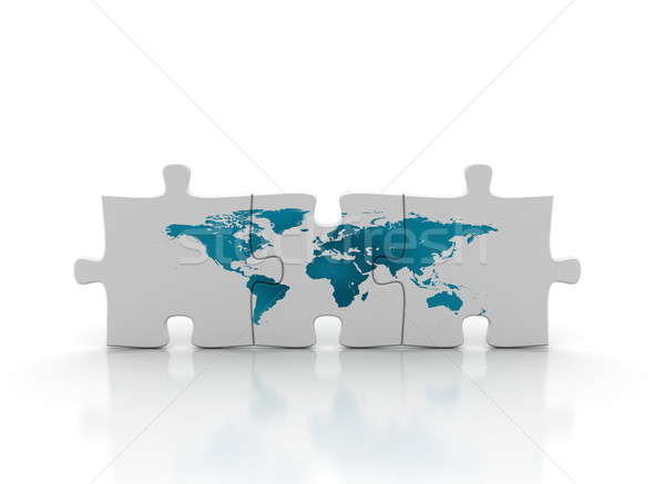 Monde carte puzzle trois texture bleu Photo stock © jezper