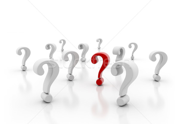 Single red question mark standing out Stock photo © jezper