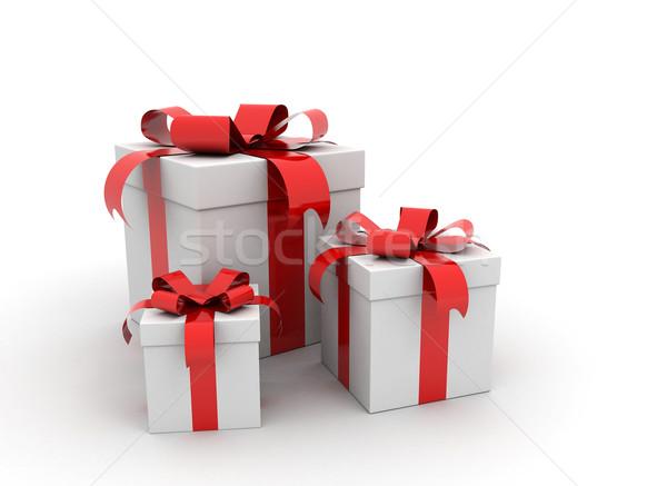 Ajándékdobozok három fehér buli születésnap vásárlás Stock fotó © jezper