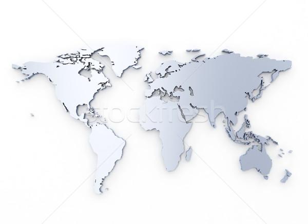 Stockfoto: Wereldkaart · zilver · 3d · illustration · ontwerp · achtergrond · metaal