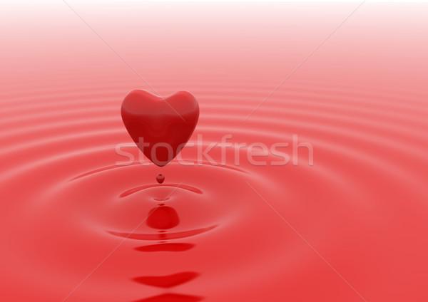 Heart red water drop  Stock photo © jezper
