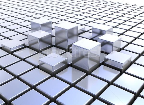 Résumé métal cubes bâtiment construction rendu 3d Photo stock © jezper