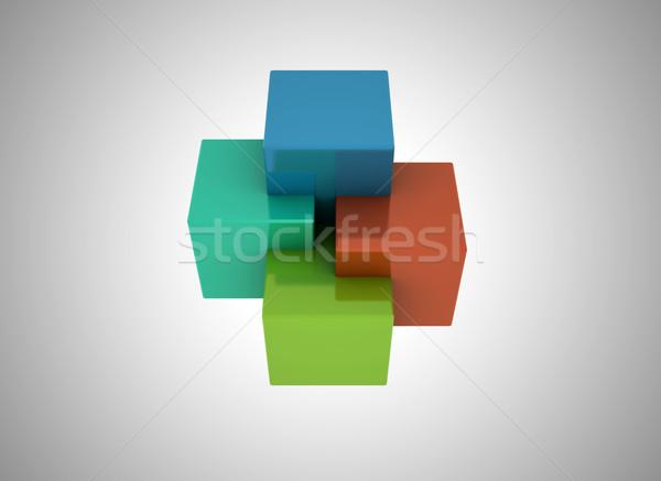 3D kockák színes absztrakt család háttér Stock fotó © jezper