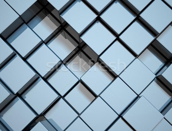 Absztrakt kék kockák 3d render építkezés terv Stock fotó © jezper