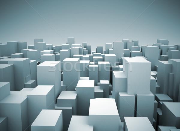 市 抽象的な 景観 3D モデル 空 ストックフォト © jezper