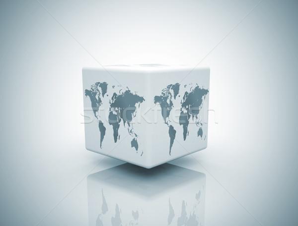 Világ doboz fehér üzlet térkép absztrakt Stock fotó © jezper