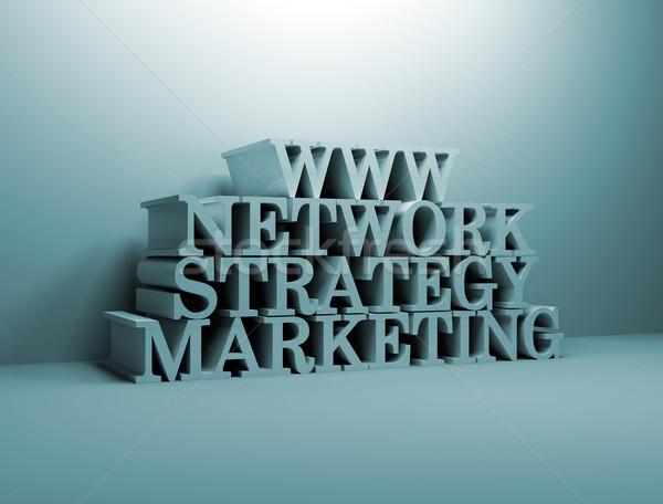Linha estratégia de marketing texto 3d computador internet projeto Foto stock © jezper