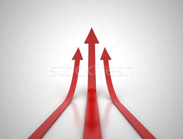 Három piros nyilak illusztráció 3d illusztráció absztrakt Stock fotó © jezper