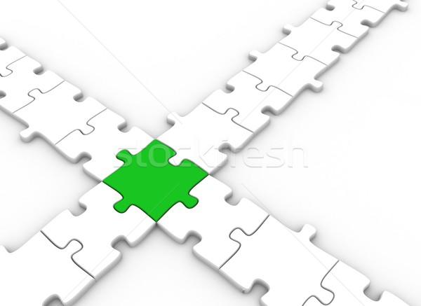 Zöld puzzle darab kapcsolódik kereszt háttér Stock fotó © jezper