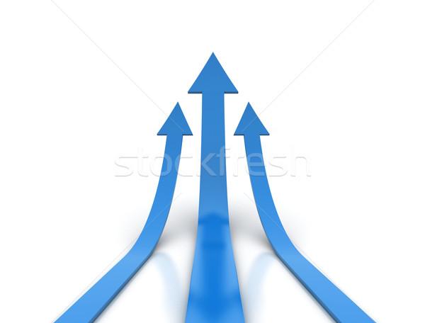 Kék nyilak fehér 3d render felfelé terv Stock fotó © jezper