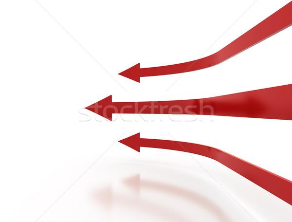 Сток-фото: Стрелки · три · красный · знак · успех · белый