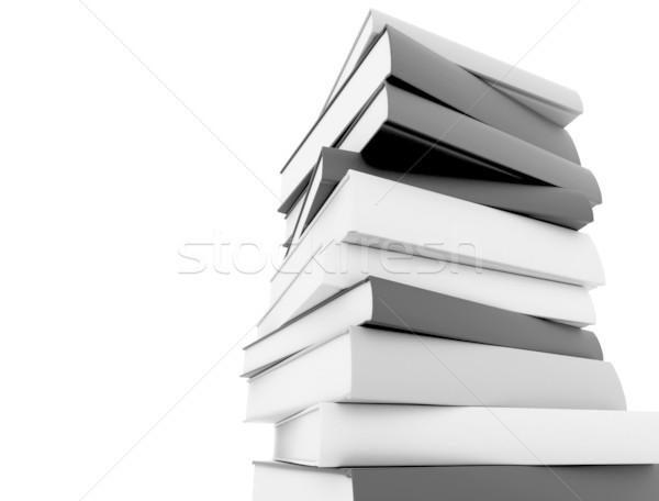 Stok fotoğraf: Kitaplar · siyah · beyaz · beyaz · okul · arka · plan