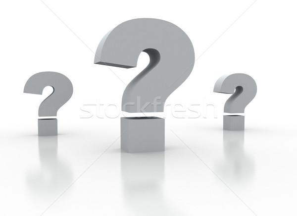 Pontos de interrogação três branco negócio nota conceito Foto stock © jezper