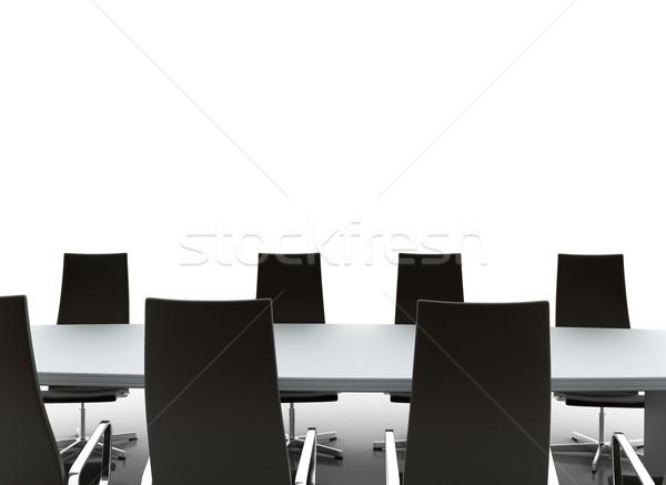 Konferenciaterem tárgyaló asztal székek fehér üzlet Stock fotó © jezper