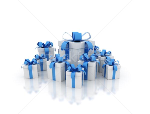Unterschiedlich blau Geschenkbox 3d render Geburtstag Geschenk Stock foto © jezper