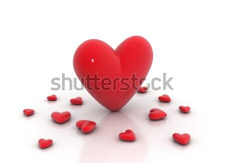 Piros szívek fehér fényes szeretet boldog Stock fotó © jezper