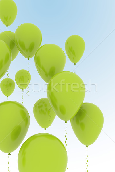 Zöld léggömbök kék ég buli csoport szabadság Stock fotó © jezper