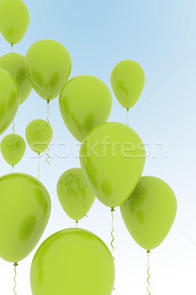 Verde palloncini cielo blu party gruppo libertà Foto d'archivio © jezper