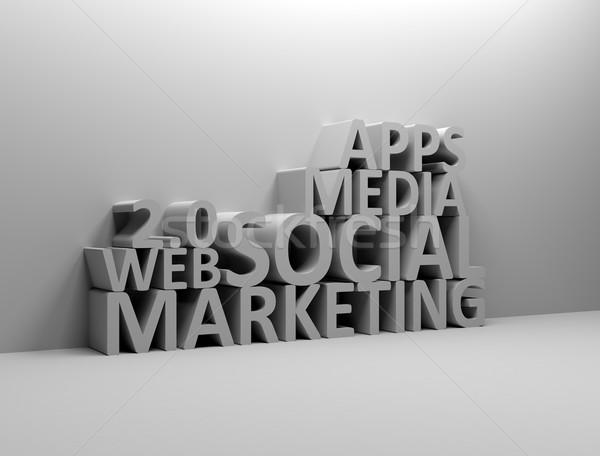 Stock fotó: Közösségi · média · marketing · 3d · szöveg · üzlet · számítógép · internet