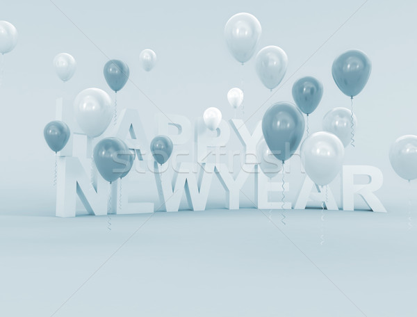 Stock photo: 3D rendering of balloons and the words happy birthday