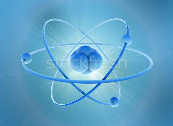 Atom 3D tudomány illusztráció építkezés terv Stock fotó © jezper