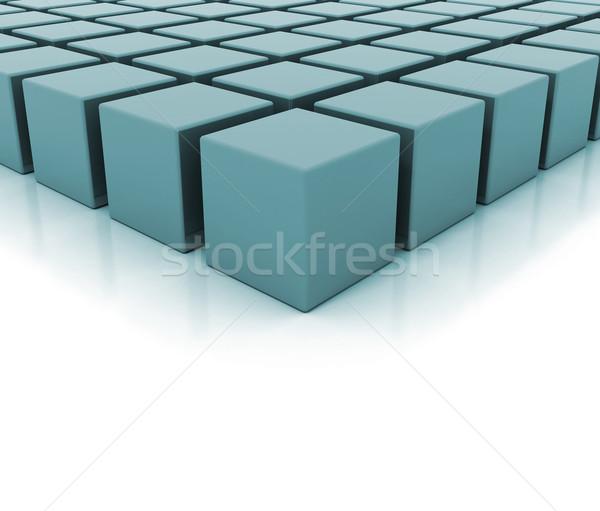 Tömbházak illusztráció 3d illusztráció kék textúra épület Stock fotó © jezper