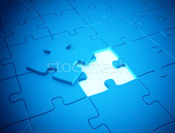 Utolsó darab puzzle hiányzó kék csoport Stock fotó © jezper