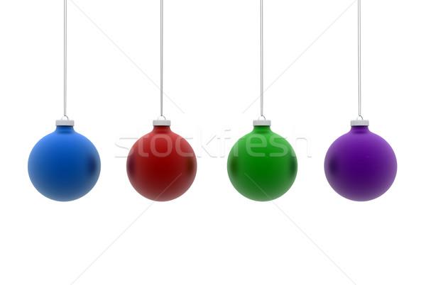 Karácsony golyók izolált fa háttér zöld Stock fotó © jezper