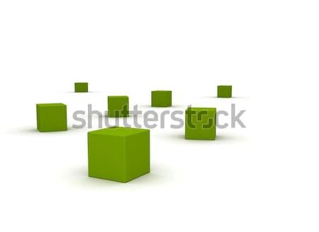 Absztrakt fehér zöld kockák üzlet művészet Stock fotó © jezper